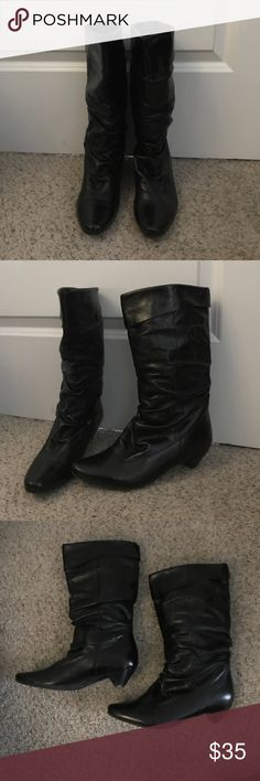 ALDO black leather boots. sz 37/7 Still in good condition. Leather is also still in good condition. More life left in these boots. Perfect with skinny jeans for the fall and winter months. Any questions, please let me know. Aldo Shoes