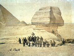 Samurai visiting the spinx during a European diplomatic mission, Egypt, 1884.  The mission's aim was to persuade France to agree to the closing of the port of Yokohama to foreign trade, and allow Japan to retreat into isolation once more. The mission inevitably failed. In 1864, en route to Paris, the Ikeda mission visited Egypt. The stay was memorialised in one of nineteenth-century photography's most extraordinary images — the embassy's members, dressed in winged kamishimo costume and…