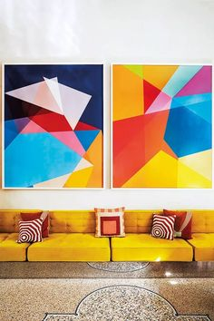 Hottest decorating trends for 2019 Part Retro Pop Colour Schemes, Color Trends, Retro Pop, Retro Decorating, Summer Colors, Home Decor Styles, House Painting, Bold Colors, House Colors