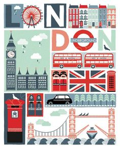 Sights of London _____________________________ Angleterre ~ England City Poster, Skyline Von New York, Illustrations Poster, London Poster, London Calling, Vintage Travel Posters, Union Jack, London Travel, London City