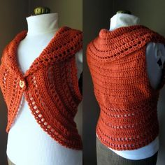 really interesting idea for a circle vest, starting with a square piece and going round at the armholes....pattern for sale
