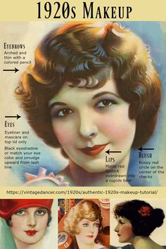 1920s makeup guide- How to authentic vintage 1920s makeup for day and evening, flapper to Great Gatsby