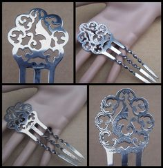 Victorian hair comb Sterling silver with by ElrondsEmporium