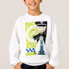 Cute Cartoon British Policeman on Bike Sweatshirt