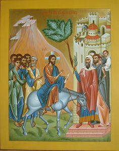 Entry into Jerusalem / Palm Sunday Trinidad, Palm Sunday, Religious Icons, Catholic Art, Orthodox Icons, Blessed Mother, Bible Art, Christian Art, Art And Architecture