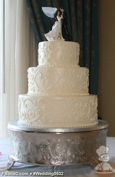 "Design W0532   Butter Cream Wedding Cake   12""+9""+6""   Serves 100   Scroll Design   Standard Price"