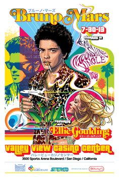 Commemorative poster for Bruno Mars and Ellie Goulding concert San Diego at Valley View Casino Center. Artwork by Mel Marcelo. Black Phone Wallpaper, Mood Wallpaper, Bruno Mars, Vintage Concert Posters, Vintage Posters, Ellie Goulding Concert, Poster Wall, Poster Prints, Pop Art Fashion