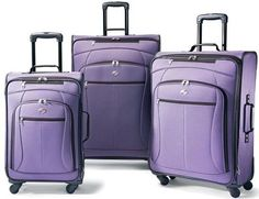 American Tourister At Pop 3 Piece 4 Wheeled Spinner Upright Luggage Set - Purple #AmericanTourister