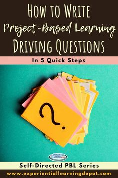 Project-based learning often starts with a driving question. The driving question clarifies the purpose and goals of the experience, which makes the experience as a whole seamless for students. The driving question includes an action, an audience, impact, and more. Check out this blog post for details and a template for writing driving questions. #projectbasedlearning