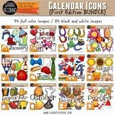 Calendar Monthly Icons Clip Art BUNDLE {First Edition} This big bundle has an assorted collection of seasonal icons perfect for newsletters and seasonal products Black N White Images, Black And White, Cool Clipart, Patriotic Bunting, Colour Images, Wonderful Images, Illustrators, Calendar, Clip Art