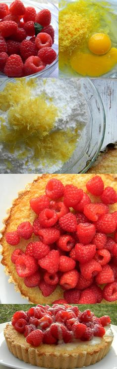 Fresh Lemon Tart with Lemoncello Marinated Raspberries. Holy lord that sounds awesome.