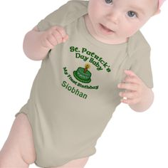 Custom St. Patrick's Day First Birthday Baby Tees #stpatricksdaybirthday #babybirthday