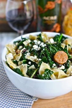 pantry pasta with black beans, kale and spicy chicken sausage // #dinner #easy #pasta // not bad, but not sure i'd make it again. -gf