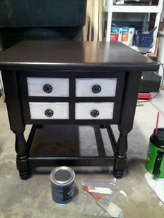 Walnut and antique white night stand.