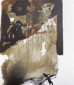 Antoni Tápies  La nuit Grandissante. 1968  Colour lithograph  size: 17.6 x 15.2 inches