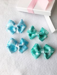 Nautical Hair Bow Set, Seashell Hair Bow, Blue Hair Bow set, Green Hair Bow Set, Baby Bows, Small Hair Clips, Toddler Hair Bows, HairBow Set by BradleyAccessories on Etsy https://www.etsy.com/listing/556546939/nautical-hair-bow-set-seashell-hair-bow