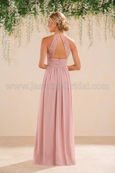 Jasmine Bridal- also available in shorter length. It is lace though...
