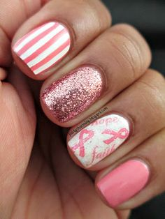 Nail Trends: Breast Cancer Awareness Month It's October and it's time to change out your nails! Support October by rocking pink ribbon nails designs all month long! Mix up your pink nails by ad. Fancy Nails, Love Nails, How To Do Nails, Sparkle Nails, Glitter Nails, Fabulous Nails, Gorgeous Nails, Pretty Nails, Amazing Nails