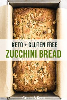 Keto zucchini bread that's so moist and delicious, you won't believe it's low carb. It's slightly sweet, packed with hidden veggies, and topped with crunchy walnuts. It's a healthy keto breakfast recipe that you can also serve for snack or dessert. Best Keto Bread, Low Carb Bread, Low Carb Keto, Low Carb Recipes, Healthy Recipes, Quick Bread, Keto Banana Bread, Low Carb Zucchini Recipes, Vegan Keto Recipes