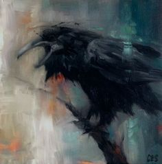 Original Oil PAINTING CES- Raven Crow Bird Impressionism Abstract NFAC Dark Art #MyStyle