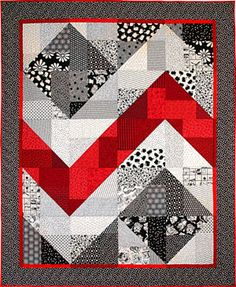 Black, White, and Red zig zag quilt