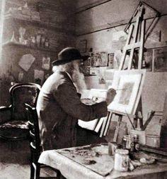 Camille Pissarro in his studio at Eragny, about 1897