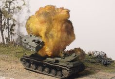 Explosions are a normal part of most battlefield dioramas. A good created explosion gives the scenario more realism.At the following pages I'll give you an introduction to my way of creating explosions.You can read more about the building of these dioramas on my website www.dioramas-and-models.com