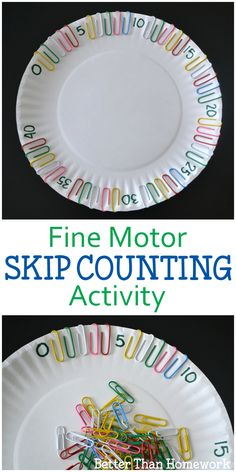 Fine Motor Skip Counting Activity Grab a paper plate and some paper clips for th. - Fine Motor Skip Counting Activity Grab a paper plate and some paper clips for th… Fine Motor Sk - Skip Counting Activities, Fine Motor Activities For Kids, Motor Skills Activities, Math For Kids, Preschool Learning, Kindergarten Activities, Fun Math, Fine Motor Skills, Skip Counting By 2