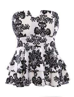 Fashion Strapless Floral Print Ruffles Cotton Women's Top - Milanoo.com