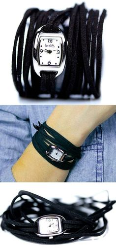 Boho Fringe Leather Wrap Watch ♥ I would love this if it was faux-leather