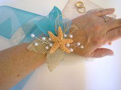 Starfish Corsage, Wrist Corsage, Ribbon Tie Wrist Corsage, Beach Wedding, Tropical Destination