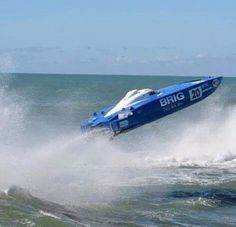 Speedboat going airborne