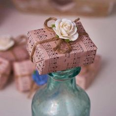 Handmade Apple Orchard White Rose Soap Parcel Wedding Favours