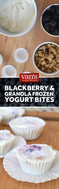 Another easy after school snack: frozen yogurt fruit and granola bites! Simply fill the mini baking cups with the ingredients and let freeze. Voila!