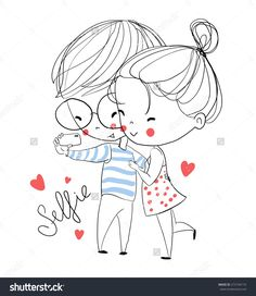 Find Young Girl Boy Making Self Portrait stock images in HD and millions of other royalty-free stock photos, illustrations and vectors in the Shutterstock collection. Cute Couple Drawings, Cute Couple Cartoon, Cute Love Cartoons, Love Drawings, Cartoon Drawings, Art Drawings, Love Doodles, Doodle Art, Mode Poster