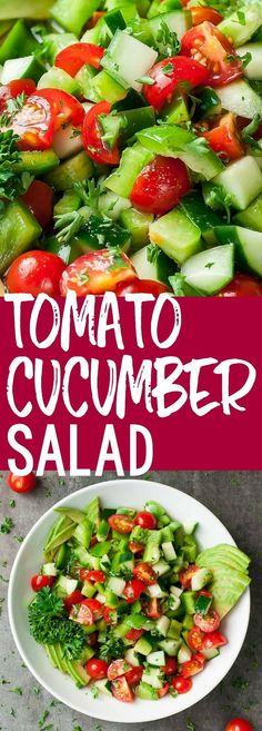 You're just a few minutes away from a crazy delicious saladwith this healthy Tomato Cucumber Avocado Salad recipe. It'slight, fresh, and full of flavor! #Vegetarian #Vegan #Whole30 #Keto #ketodiet #ketogenic #pegan #paleo #salad #tomato #cucumber #avocado #glutenfree Cucumber Avocado Salad, Avocado Salad Recipes, Avocado Salat, Pasta Salad Recipes, Healthy Salad Recipes, Asparagus Salad, Shrimp Salad, Arugula Salad, Shrimp Pasta