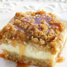 Carmel Apple Cheesecake Bars. Fabulous scrumptious dessert! Can be made a day ahead! Can freeze leftovers. Serves at least 12. Meets all my criteria! Everyone asks for the recipe, so here it is!