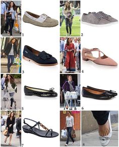 Kate's flats that we have seen: 1: Sebago Bala loafers in taupe; perhaps Kate's most well-worn pairs of shoes. They are available at the Sebago website for $95 or on Amazon for around $75 depending on your size. 2: Mint Velvet Plimsolls. Kate's specific pair are sold out but the new, slightly different version called the 'Emily' plimsoll, is available on Mint Velvet for £89. 3: Russell & Bromley 'Chester' Tassel Loafers. Kate was spotted in these when out shopping with George earlier this…