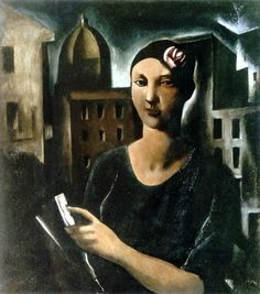 The Beauty Of Sestiere. Woman With Flower, 1926			-Mario Sironi - by style - Metaphysical art