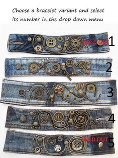 Jeans cuff bracelet with metal rivets industrial style | Etsy Bracelet Denim, Zipper Bracelet, Zipper Jewelry, Fabric Jewelry, Bullet Jewelry, Jewelry Necklaces, Diy Bracelet, Diy Necklace, Statement Jewelry