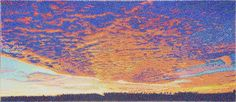 "#finearts, ""sunrise"", 05. - 07. 2011, #pixelism - ca. 124.000 painted pixels, acrylic on canvas, 160 x 70 cm, ■ = 3 x 3 mm, (62.99"" x 27.56"", ■ = 0.12"" x 0.12""), painting time: 281 hours."