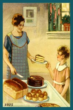 Mother Serving Daughter Cake 1925. Quilt Block printed on cotton. Ready to sew.  Single 4x6 block $4.95. Set of 4 blocks with free Wall Hanging Pattern $17.95.