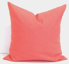 SOLID CORAL PILLOW.24x24 inch Chevron.Decorator Pillow Cover.Printed Fabric Front and Back.Coral.Solid