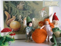 These gnomes are a part of the suitcase set based on the children story book The Sun egg written and illustrated by Elsa Beskow. Made by Lalinda.pl