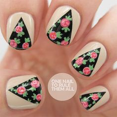 Nude Mani with Triangular Floral Cutouts