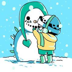 Law making a Cora-san snowman - Trafalgar D. Water Law and Donquixote Rocinante (Corazon) (Corasan, Cora-san) One Piece