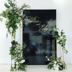 """Ceremony """"alter"""" idea. This is perfect! The asymmetry. The height. The width. The clean modern look of the stands! All the greenery with white/neutral flowers. Perfect!! Wedding Stage, Wedding Wall, Wedding Mood Board, Wedding Ceremony, Diy Wedding, Backdrop Photobooth, Backdrops, Wedding Trends, Wedding Designs"""