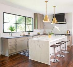 Carrara marble kitchen countertops with waterfall drop edge