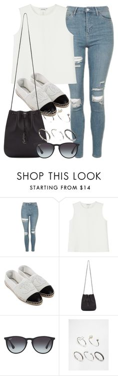 """Style  #10638"" by vany-alvarado ❤ liked on Polyvore featuring Topshop, Monki, CC, Yves Saint Laurent, Ray-Ban and ASOS"
