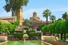 Gardens of Alcazar de los Reyes Cristianos in Cordoba.